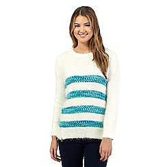 Red Herring - White fluffy stripe jumper