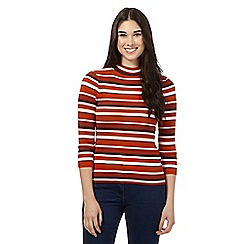 Red Herring - Dark orange striped ribbed jumper