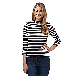 Red Herring - Navy striped ribbed jumper