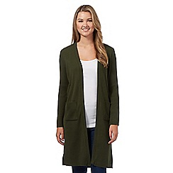 Red Herring - Khaki ribbed split side maxi cardigan