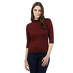 Red Herring - Maroon ribbed turtle neck jumper