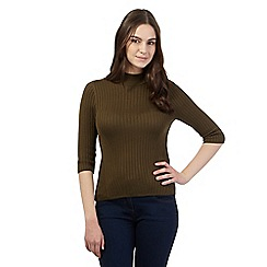 Red Herring - Khaki ribbed turtle neck jumper