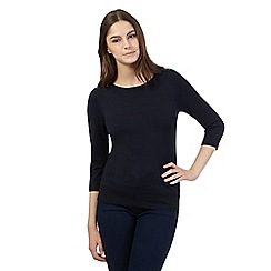Red Herring - Navy zip shoulder jumper