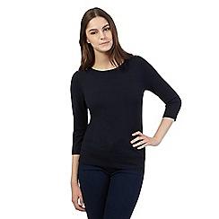 Red Herring - Navy zip shoulder jumper
