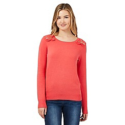 Red Herring - Dark peach lace shoulder jumper
