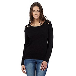 Red Herring - Black lace shoulder jumper