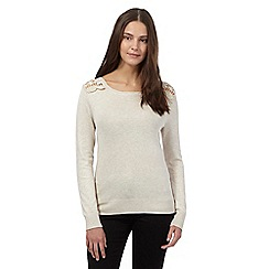 Red Herring - Beige lace shoulder jumper