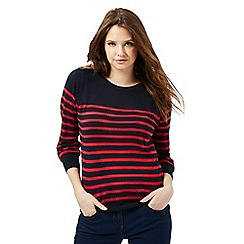 Red Herring - Red striped button shoulder detail jumper