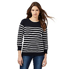 Red Herring - Navy striped button shoulder detail jumper