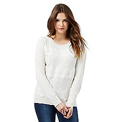 Red Herring - Cream lace detail jumper