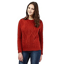 Red Herring - Dark orange cable knit jumper