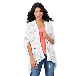 Red Herring - Ivory fringed cardigan