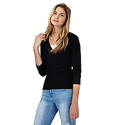 Red Herring - Black ribbed V neckline cardigan