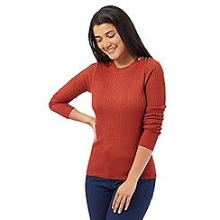 Red Herring - Orange ribbed button shoulder jumper