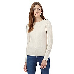 Red Herring - Beige ribbed button shoulder jumper