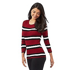Red Herring - Dark red striped print jumper