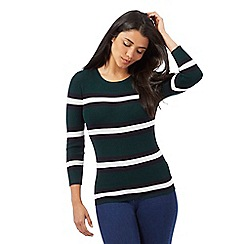 Red Herring - Dark green striped print jumper