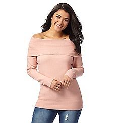 Red Herring - Pink knitted cowl neck jumper