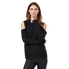 Red Herring - Dark green cable knit cold shoulder jumper