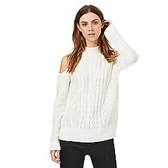 Red Herring - Ivory cable knit cold shoulder jumper