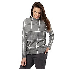 Red Herring Petite - Grey checked print high neck jumper