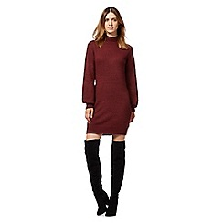 Red Herring - Dark red high knitted neck dress