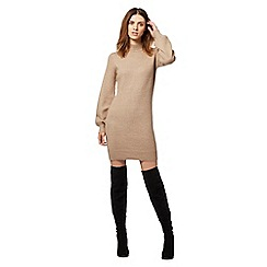 Red Herring - Beige high knitted neck dress