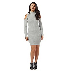Red Herring - Grey knitted cold shoulder knee length dress