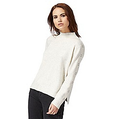 Red Herring - Natural eyelet high neck jumper