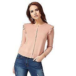 Red Herring - Light pink ruffled shoulder cardigan