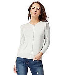Red Herring - Grey ruffled shoulder cardigan