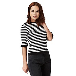 Red Herring - Black and white stripe ruffle sleeve top