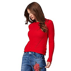 Red Herring - Red cropped lace up jumper