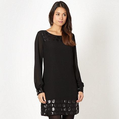 Principles Petite by Ben de Lisi - Petite designer black sequin chiffon dress
