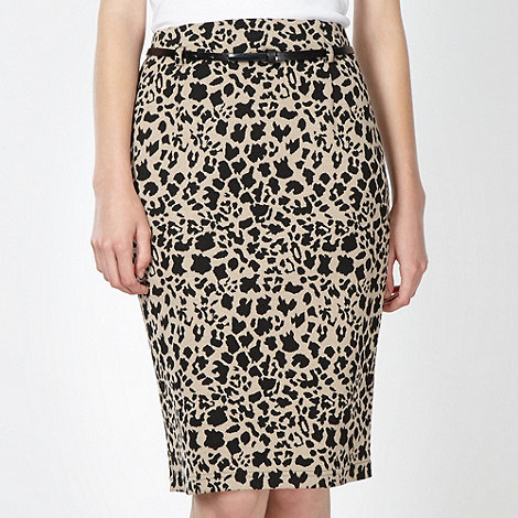 Principles Petite by Ben de Lisi - Petite designer natural animal print skirt