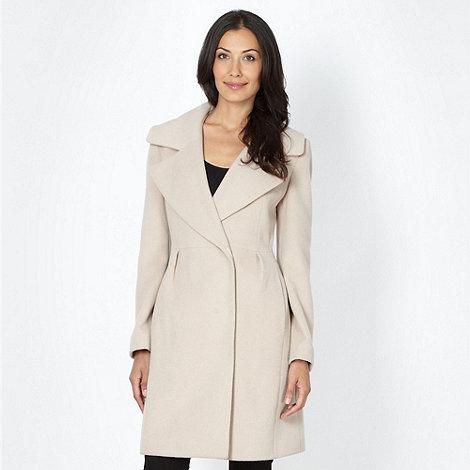 Principles Petite by Ben de Lisi - Designer petite cream collar wrap coat