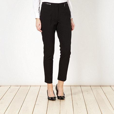 Principles Petite by Ben de Lisi - Petite designer black zip detail trousers