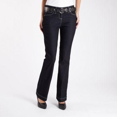 Petite dark blue boot cut belted jeans