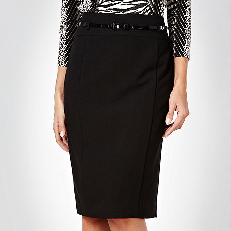 Principles Petite by Ben de Lisi - Petite black flared back suit skirt