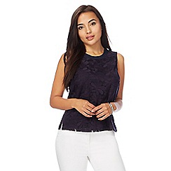 Principles Petite by Ben de Lisi - Navy floral lace top