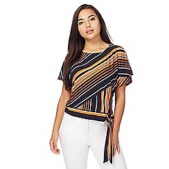 Principles Petite by Ben de Lisi - Navy striped petite side tie top