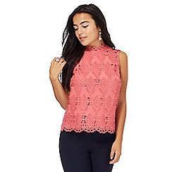 Principles Petite by Ben de Lisi - Light pink lace petite shell top
