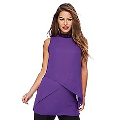 Principles Petite by Ben de Lisi - Purple jewel embellished layered top