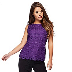 Principles Petite by Ben de Lisi - Purple circle lace petite shell top