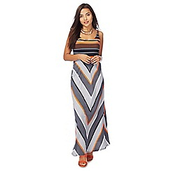 Principles Petite by Ben de Lisi - Navy chevron striped maxi petite dress