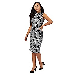 Principles Petite by Ben de Lisi - Grey chain print jersey petite shift dress