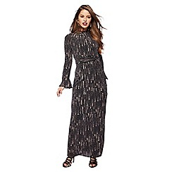 Principles Petite by Ben de Lisi - Black matrix print high neck long sleeves full length petite dress