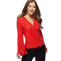 Principles Petite by Ben de Lisi - Red textured petite wrap top