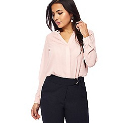Principles Petite - Light pink pinstripe print notch neck petite shirt