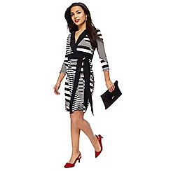 Principles Petite - Black striped knee length petite wrap dress